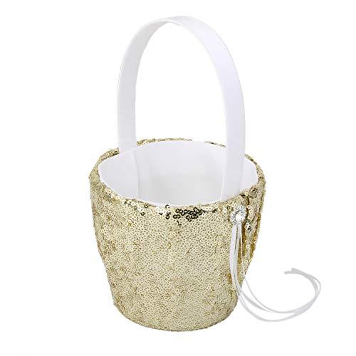 Elegant Gold Sequins Wedding Ceremony Party Ring Pillow Cushion Bearer Flower Girl Basket Garden Supplies,Medium from Feing Flower Girl Basket