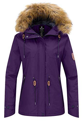 Snowboard Hood Jacket (Wantdo Women's Winter Ski Jacket Hooded Mountain Waterproof Rainwear Windproof Winter Coat for Snowboarding(Dark Purple, X-Large))