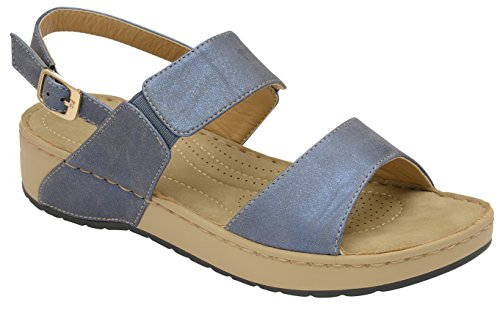 Dunlop Ladies Women Low Wedge Heel Slingback Cushioned Sandals Slippers Shoes Blue Je4B9JgL