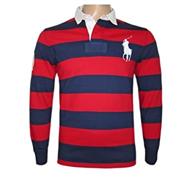 6bfdcb94dbc7 RALPH LAUREN POLO MEN S RUGBY SHIRT STRIPE 3 BIG LOGO RED   NAVY Size S