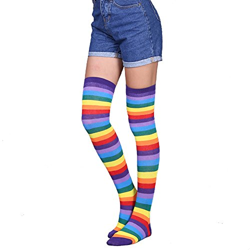Womens Long Striped Socks Over Knee Thigh High Crazy Fun Rainbow Cosplay Party Stockings, Medium Ladies' One Size 6-11