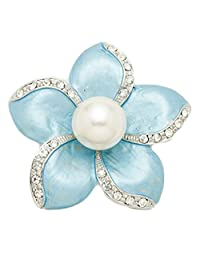 Epinki Women Brooch, Stainless Steel Pearl Flower Brooch Bouquet Brooches and Pins Wedding Brooch