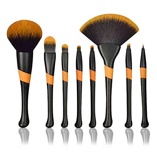 Professional Makeup Brush Set 8Pcs Silicone Non-slip Handle Highend Brushes Kabuki Eyebrow Highlighter Blush Powder Cheekbones Lip Contour Foundation Fan Large Brush (8 Pack)