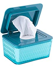 Babydoekjes Dispenser, stofdichte tissue opbergdoos etui natte doekjes dispenser met deksel, babyluier natte tissue box voor thuis kantoor op het bureau, houdt doekjes fris, 17,5 x 12,5 x 9,5 cm