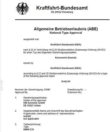 ABE* DM Autoteile Frontsch/ürze Sto/ßstange VORNE KOMPLETT+passt f/ür E39 au/ßer M-Paket M5
