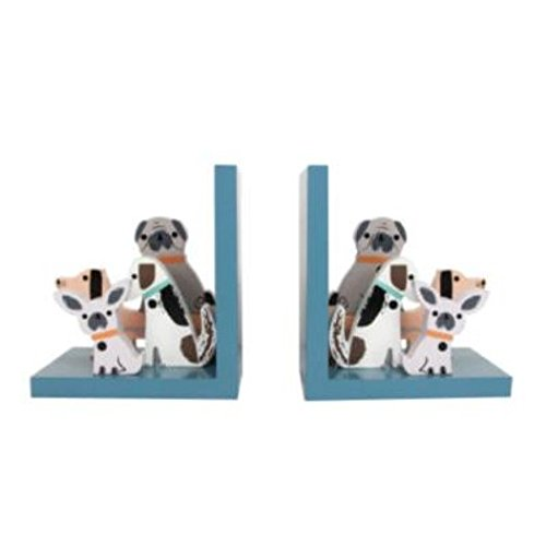 Dogs Wooden Bookends Set Gisela Graham