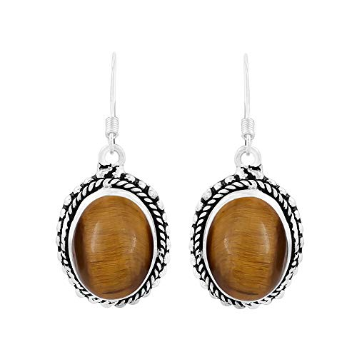 (Natural Oval Shape Tiger Eye Bohemian Style Dangle Earrings 925 Silver Overlay Handmade Jewelry For Women Girls)