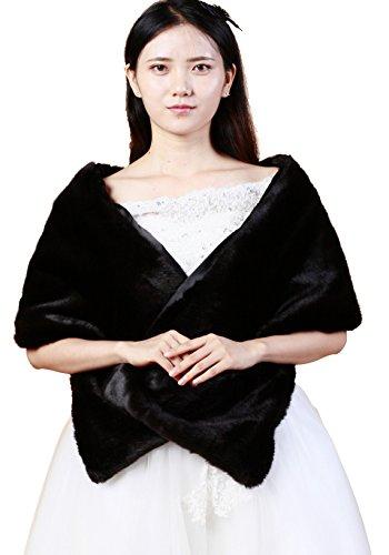 Handmade Faux Fur - Elegant Handmade Premium Faux Fox Fur Casual, Party/Evening Shawls, Scarf Wraps (Black)