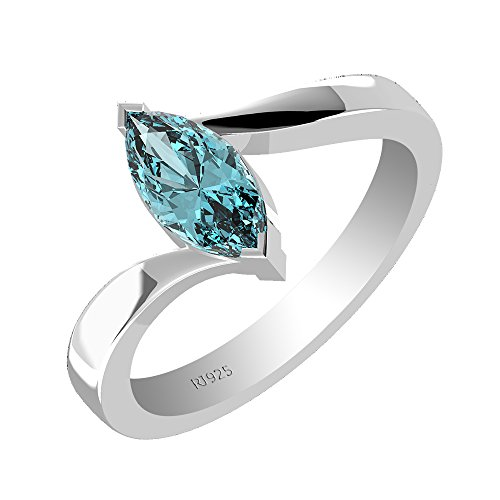 1.00ctw,Genuine Swiss Blue Topaz 5x10mm Marquise & Solid .925 Sterling Silver Ring (Size-8)