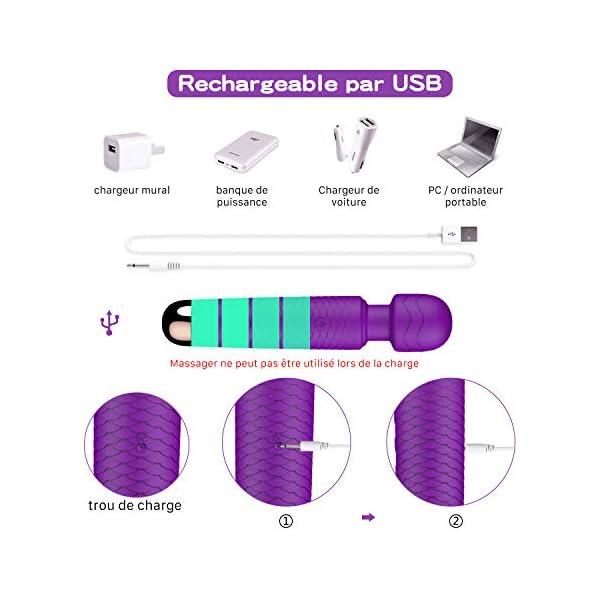 Wand Masseur, YICOCO Electric Massager Sans fil avec 25 Mode de Vibrations électriques étanche USB Rechargeable Massage…