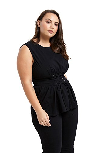 Poshsquare Women's Sleeveless Corset Tie Waist Jersey Knit Tee Shirt Blouse Top Black L (Tops Jersey Tie Waist)