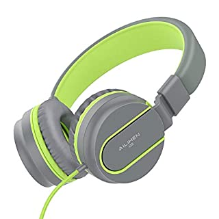 AILIHEN I35 Kid Headphones with Microphone Volume Limited Children Girls Boys Teen Lightweight Foldable Portable Wired Headset for School Airplane Travel Cellphones Tablets Smartphones (Grey/Green)