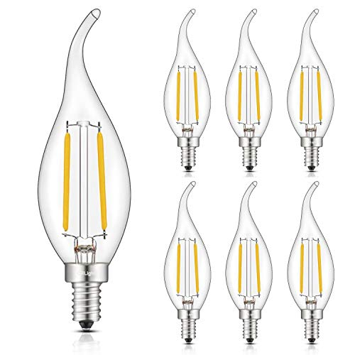 CRLight 2W Dimmable 25W Equivalent LED Candelabra Bulb 2700K Warm White 250LM, E12 Chandelier Base LED Candle Bulbs, C35 Clear Glass Flame Shape Bent Tip, 360 Degrees Beam Angle, 6 Pack