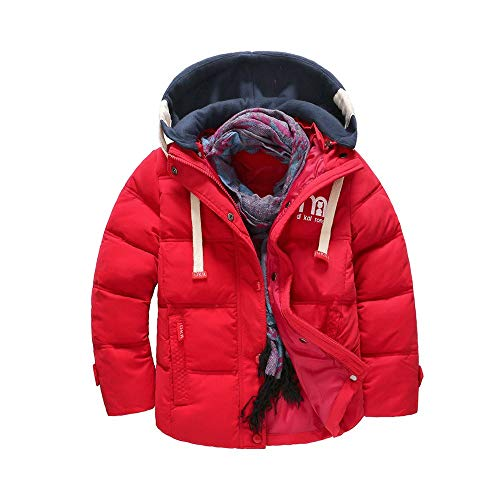 Boys'girls Hooded Winter Quilted Puffer Jacket, Parka Down Coat Red Tag ()
