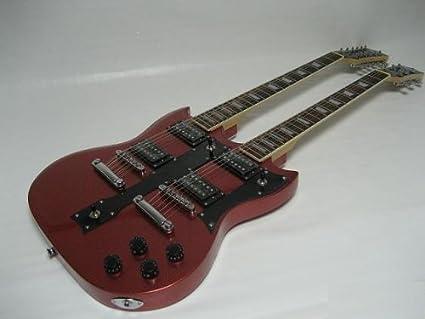 ktone profesional 6/12 cuerdas guitarra eléctrica doble cuello con incluye bolsa de transporte acolchada