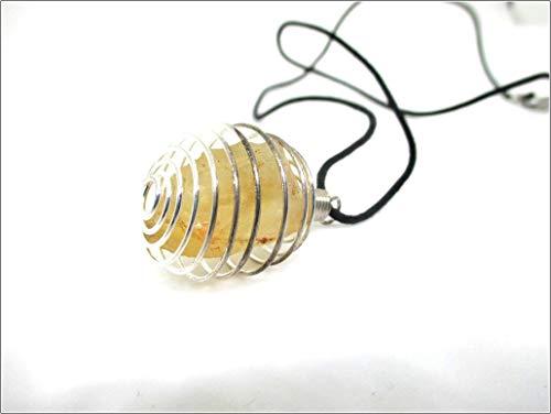 - M'VIR Citrine Stone Spring Pendant Tumbled Stone Healing Cystal Chakra Balancing November Birthstone with Free pouch & Booklet