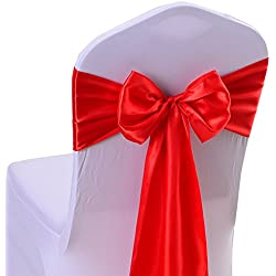 iEventStar Satin Sash Chair Bow Cover Wedding Banquet Party Decoration (50, Red)