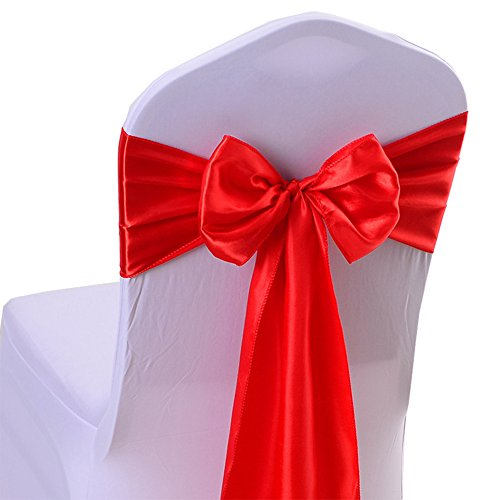 (iEventStar Satin Sash Chair Bow Cover Wedding Banquet Party Decoration (10, Red))