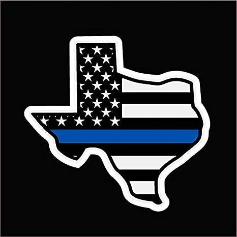 Calcomanía de vinilo con diseño de la bandera de Texas, línea azul delgada, de CMI, con texto en inglés