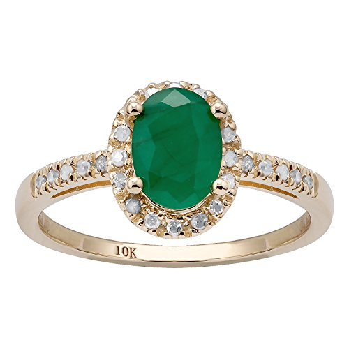 Emerald 10k Ring - 10k Yellow gold Oval Emerald and Diamond Halo Ring