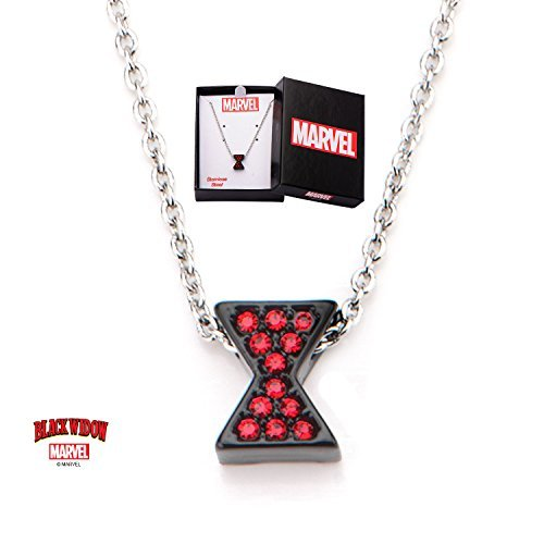 Women's Black Stainless Steel Black Widow Marvel Comics Logo with Red Cubic Zirconia Gems Necklace -