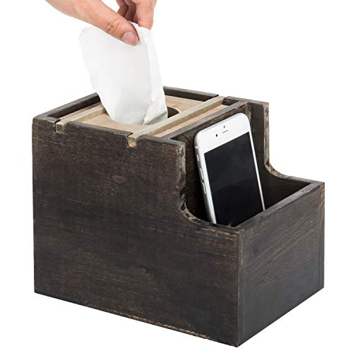 (MyGift Rustic Two-Tone Wood Square Tissue Box Cover with Vanity)