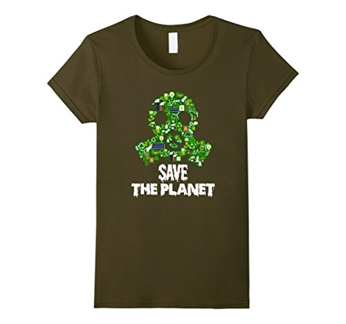 Green Day Gas Mask (Womens Save the Planet! Recycle Icons Gas Mask T-Shirt Small Olive)
