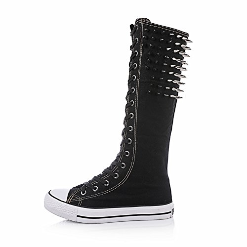 Veribuy Punk Style Rivet High Top Sneakers Knee High Zipper Lace Up Boots Canvas Shoes Cool for Women & Girls