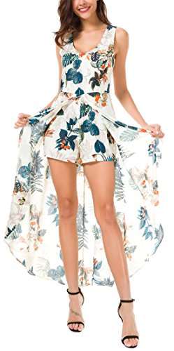 KorMei amp;blue Split Maxi Women Print Sleeveless Long Apricot Floral Romper Dress rvErxqwgp
