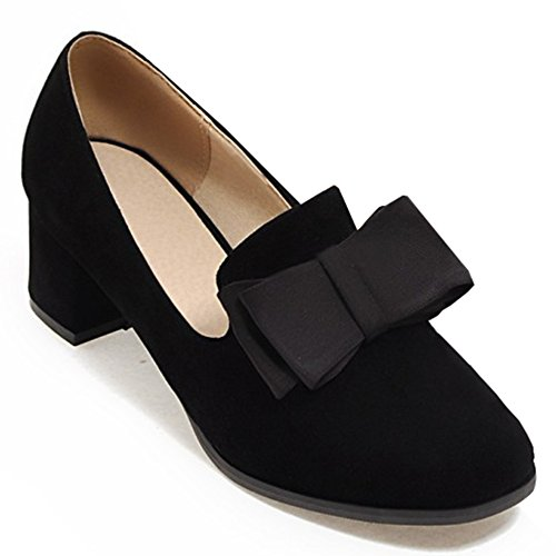 Low Womens IDIFU Dressy Heels Shoes With Pumps Toe Mid On Slip Closed Office Black Top Block Round Bow XdFrqd