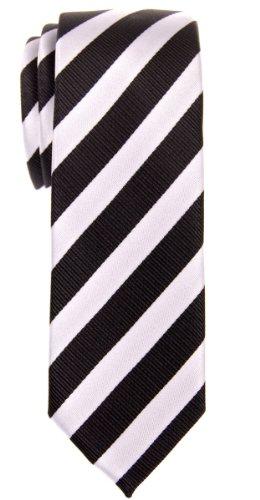 Retreez Exquisite Regimental Stripe Woven Microfiber Skinny Tie - Black and White