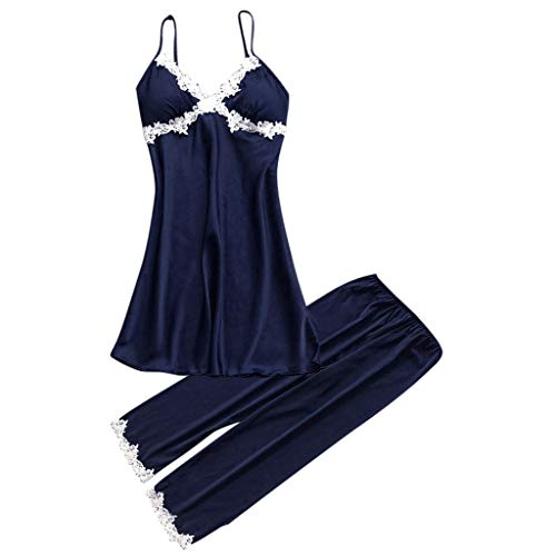 TIFENNY Pajamas for Women Sexy Lace Lingerie Nightwear Underwear Babydoll Soft Silk Sleepwear Dress 2PC Set - Tel Tester Line