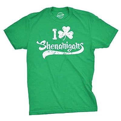 Mens I Clover Shenanigans T Shirt Funny Irish Clover Saint Patricks Day Tee