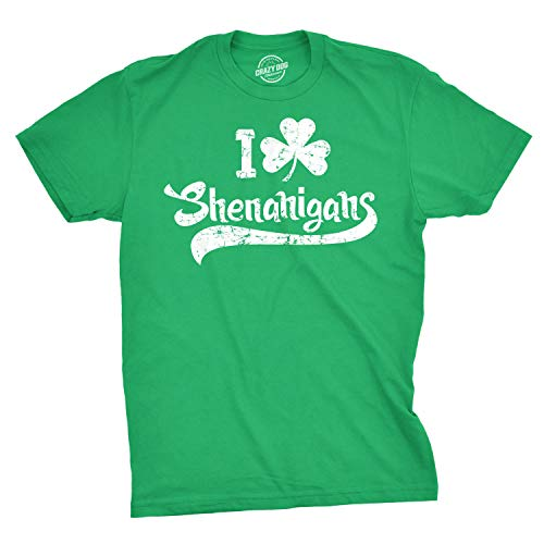 Mens I Clover Shenanigans T Shirt Funny Irish Saint Patrick's Day Tee (Green) -