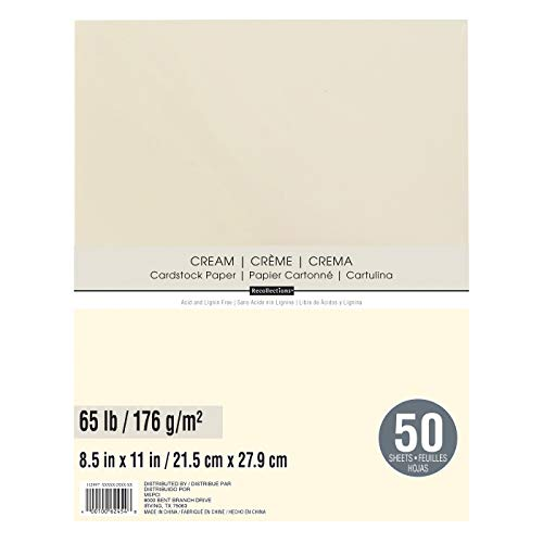Recollections Cardstock Paper, 8 1/2 X 11 Cream - 50 Sheets
