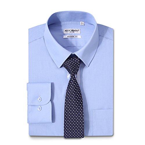 - Alex Vando Mens Dress Shirts Solid Regular Fit Long Sleeve Point Collar Shirt,Blue,17 34/35