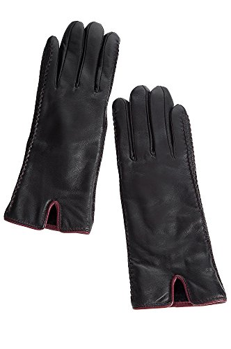 Women's Two-Tone Lambskin Leather Gloves with Shearling Lining by Overland Sheepskin Co