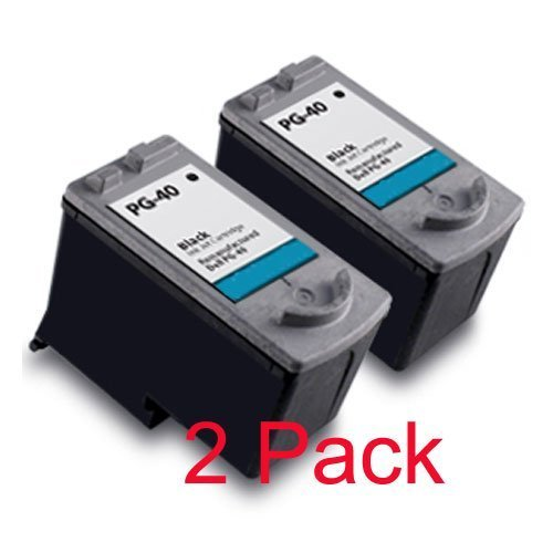 2 Pack Canon Pg-40 Pg40 Black Remanufactured Compatible Inkjet Cartridge for Canon Pixma Ip1200 Ip1300 Ip1600 Ip1700 Ip1800 Ip2200 Mp150 Mp160 Mp170 Mp180 Mp450 Mp460 Mp470 Mx300 Mx310