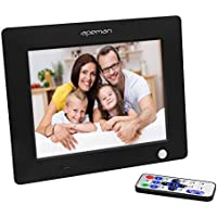 Apeman 8-Inch HD Digital Photo Frame Picture Music Video MP3 MP4 Player High Resolution Calender Date Display Motion Sensor with Remote Control