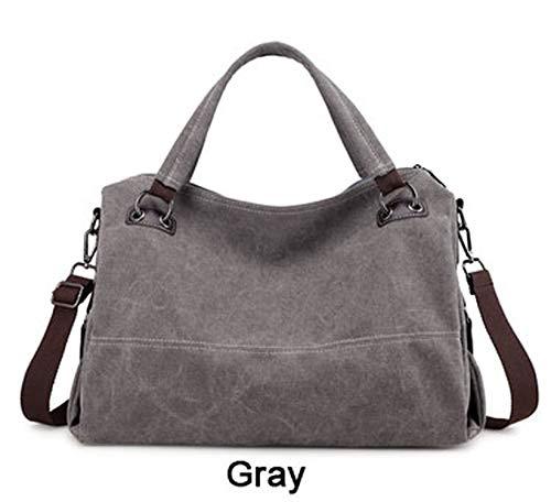 (Women Bags Designer Casual Hobos Bags for Women Luxury Canvas Totes Women Handbag Large Shoulder Bags Girls,Gray)