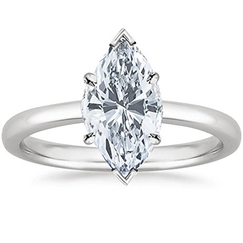 1/2 Carat GIA Certified 14K White Gold Solitaire Marquise Cut Diamond Engagement Ring (0.5 Ct D-E Color, VS1-VS2 Clarity)