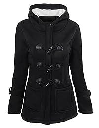 LD Womens Plus Size Winter Warm Hooded Wool Blend Pea Coat Jacket
