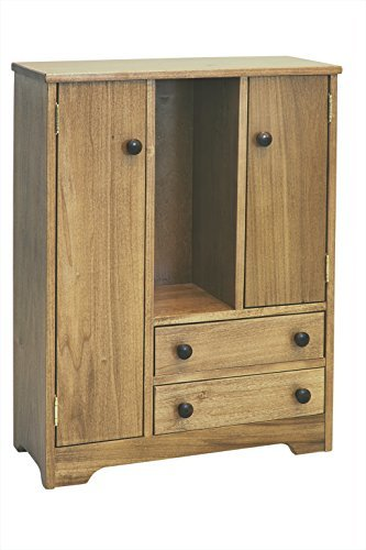 Amish-Made Wooden Deluxe Doll Wardrobe, Natural Harvest Finish