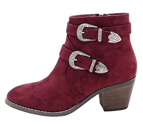 SHU CRAZY Womens Ladies Faux Suede Buckle Detail Low Block Heel Western Cowboy Biker Fashion Ankle Shoe Boots - G45 Wine