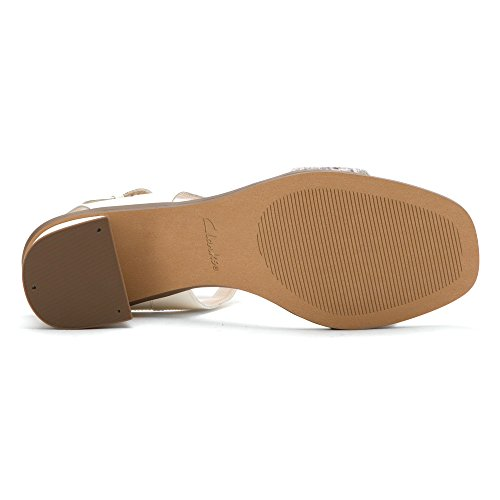 Clarks ivangelie Ray de la mujer sandalias de correa de tobillo Natural Snake Combi Leather