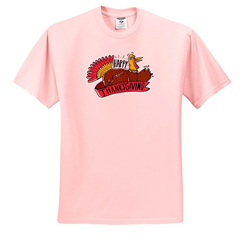 3dRose Sven Herkenrath Celebration - Happy Thanksgiving Party Bird Celebration - T-Shirts - Adult Light-Pink-T-Shirt 4XL (Bird Womens Light T-shirt)