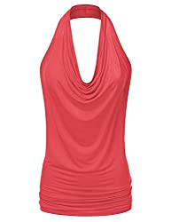 Ninexis Women's Halter Neck Draped Front Open Back Top Coral M