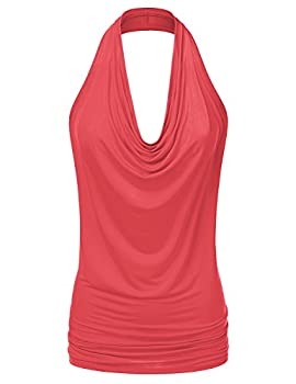 Ninexis Women's Halter Neck Draped Front Open Back Top Coral M 0