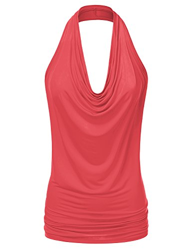 (Doublju Womens Sleeveless Sexy Halter Drape Cowl Neck Top with Plus Size Coral)