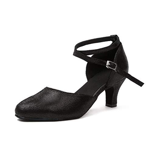 Bombas color Tamaño Bodas Negro De Reino 6 Correa Para Latino Brillo Zapatos Baile Zapatillas Hhgold Tobillo Unido Mujer Con F7qCxT4w